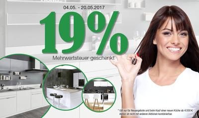 alma KÜCHEN Aktion - 19% MwSt. geschenkt 07.05.2017