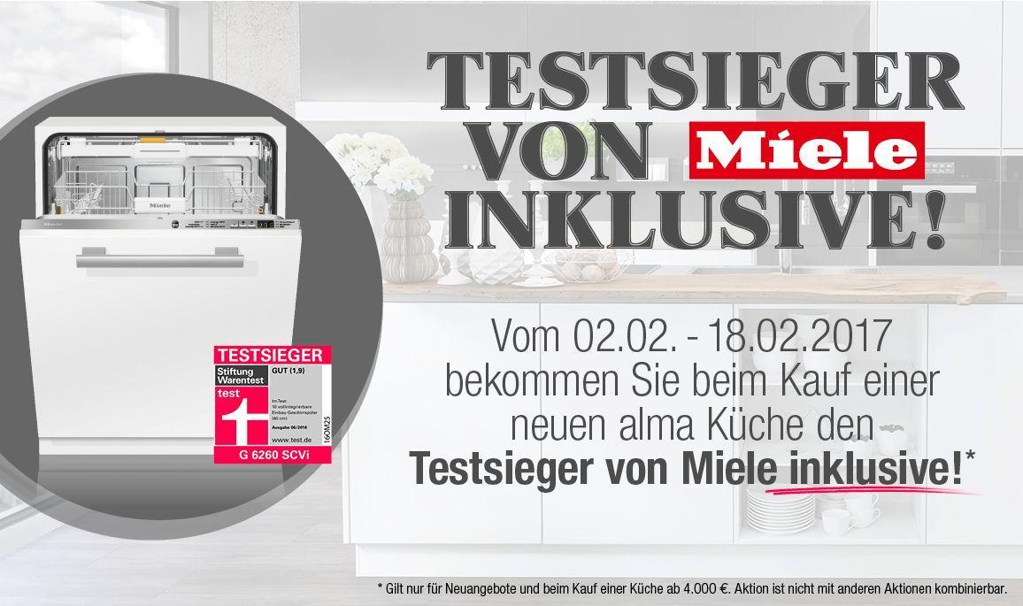"""alma KÜCHEN - Aktion """"Testsieger von Miele inklusive"""""""