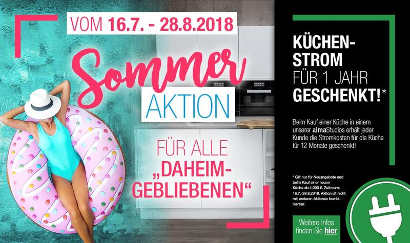 alma KÜCHEN: Sommeraktion 2018 - Küchenstrom für 1 Jahr geschenkt